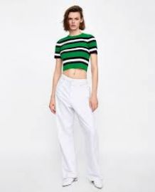 Striped Crop Sweater at Zara