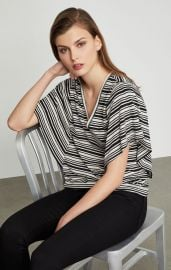Striped Drape Sleeve Top at Bcbgmaxazria