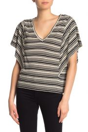 Striped Flutter Sleeve Linen Blend Top at Nordstrom Rack