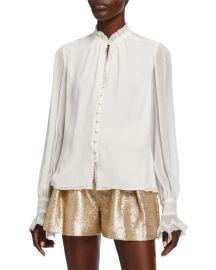 Striped Georgette Button-Down Blouse by Jonathan Simkhai at Neiman Marcus