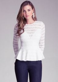 Striped Lace Peplum Top at Bebe