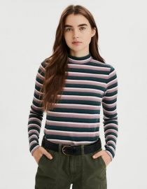 Striped Long Sleeve Mock Neck Tee by American Eagle at American Eagle