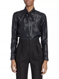 Striped Lurex Silk-Blend Blouse at Saks Fifth Avenue