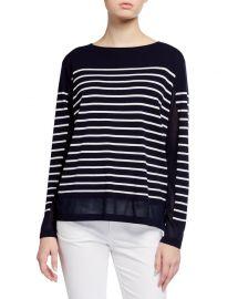 Striped Matte Crepe Bateau-Neck Sweater at Neiman Marcus
