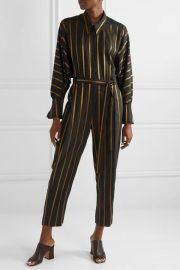 Striped Metallic Jacquard Jumpsuit by Palmer Harding at Net A Porter