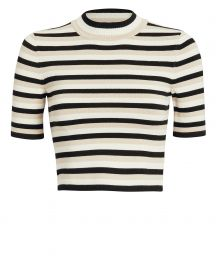 Striped Mock Neck Crop Top at Intermix