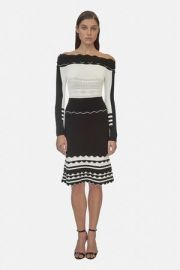 Striped Off Shoulder Knit Dress by Yigal Azrouel at Orchard Mile