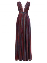 Striped Plunging V-neck Pleated-Lamé Maxi Dress by Jonathan Simkhai at Matches