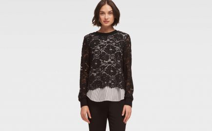Striped Poplin and Lace Top at DKNY