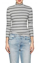 Striped Rib-Knit Mock-Turtleneck Top at Barneys