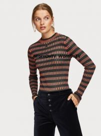 Striped Rib Knitted Pullover at Scotch and Soda