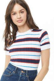 Striped Ribbed Top at Forever 21