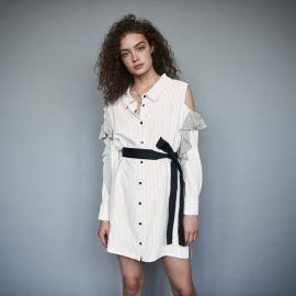 Striped Ruffled Shirt Dress at Maje