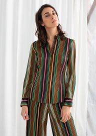 Striped Satin Button Up Shirt at & Other Stories