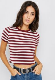 Striped Scallop Trim T-Shirt by Topshop at Topshop