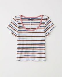 Striped Scoopneck Tee in White Stripe at Abercrombie