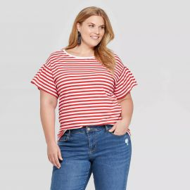 Striped Short Sleeve Crew Neck Relaxed T-Shirt - Ava & Viv at Target