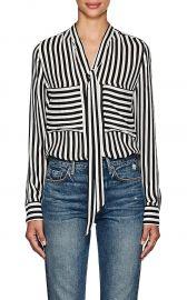Striped Silk Tieneck Blouse Barneys New York at Barneys