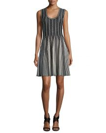 Striped Sleeveless Fit Flare Dress at Neiman Marcus