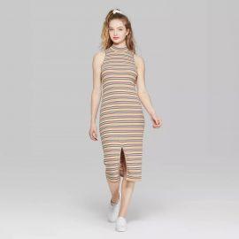 Striped Sleeveless Mock Neck Knit Midi Dress at Target