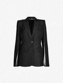 Striped Slit-Sleeve Woven Blazer by Alexander McQueen at Selfridges