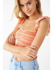 Striped Smocked Crop Top at Forever 21