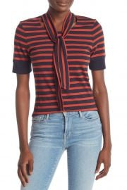 Striped Tie Neck Tee by Frame Denim at Nordstrom Rack