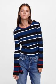 Striped Top with Flared Cuffs at Zara