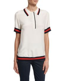 Striped-Trim Polo Shirt at Neiman Marcus