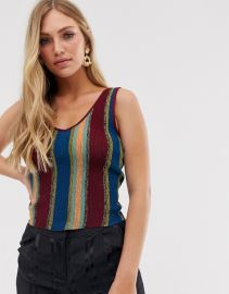 Striped V Neck Top in Multi by Mango at Asos