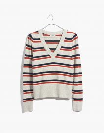 Striped Westgate V-Neck Sweater in Coziest Yarn at Madwell
