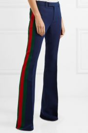 Striped Wool and Silk-Blend Cady Flared Pants by Gucci at Net A Porter