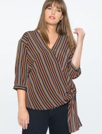 Striped Wrap Top at Eloquii