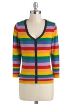 Striped cardigan in rainbow colors at Modcloth