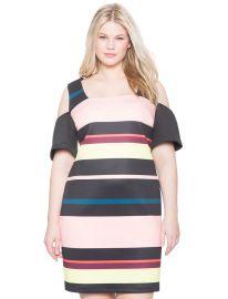 Striped cold shoulder dress at Eloquii