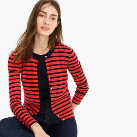 Striped cotton Jackie cardigan sweater at J. Crew