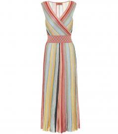 Striped crochet midi dress at Mytheresa