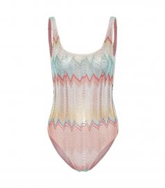 Striped crochet swimsuit at Mytheresa
