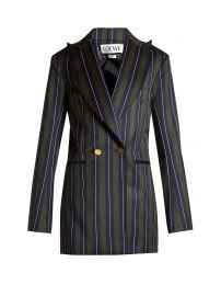 Striped double-breasted wool-blend blazer at Matches