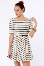 Striped dress in white at Lulus