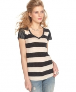 Striped faux leather tee by Bar III at Macys at Macys