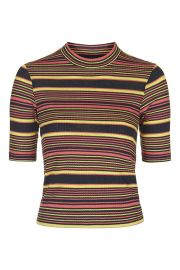 Striped funnel neck top at Topshop