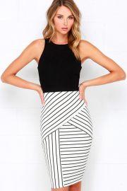 Striped midi dress at Lulus