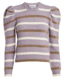 Striped puff sleeve sweater at Steven Dann