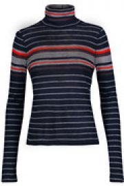 Striped ribbed-knit turtleneck sweater at The Outnet