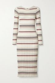 Striped ribbed silk and cashmere-blend midi dress at Net A Porter