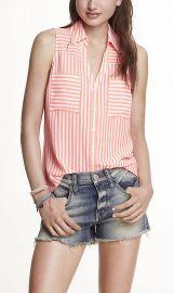 Striped sleeveless portofino shirt at Express