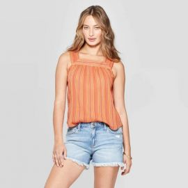 Striped sleeveless square neck top at Target