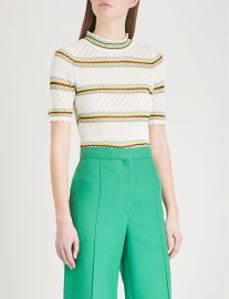 Striped stretch-crochet top at Selfridges