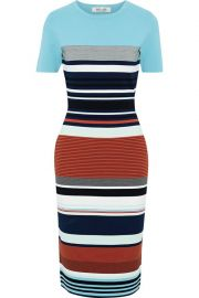 Striped stretch-knit dress at The Outnet